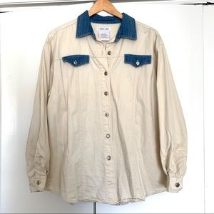 Vintage Cherokee Cream & Blue Denim Button Down